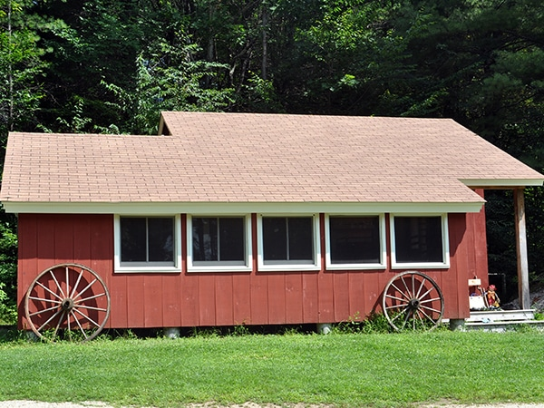 Red cabin at New Hampshire summer camp