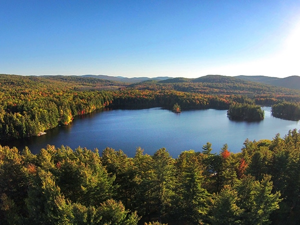 Lake in southwestern New Hampshire with fall foliage