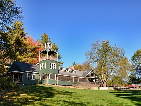 Dining hall at camp in New England during the fall