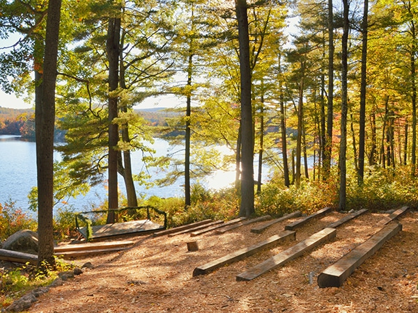 Amphitheater for weddings with lake vista at New Hampshire camp