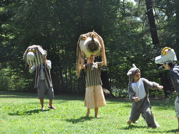 "Kids in costumes at performing arts camp in a theatre production of ""Where the Wild Things Are"""