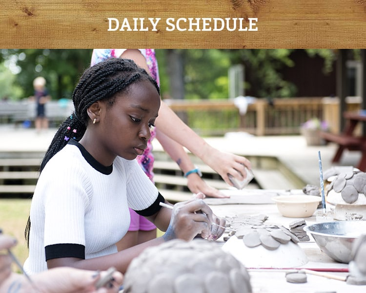 Camper at Windsor Mountain summer camp chooses pottery activity within our directed free-choice program