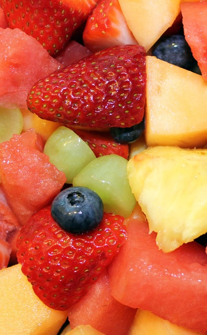 Fresh fruit served at breakfast