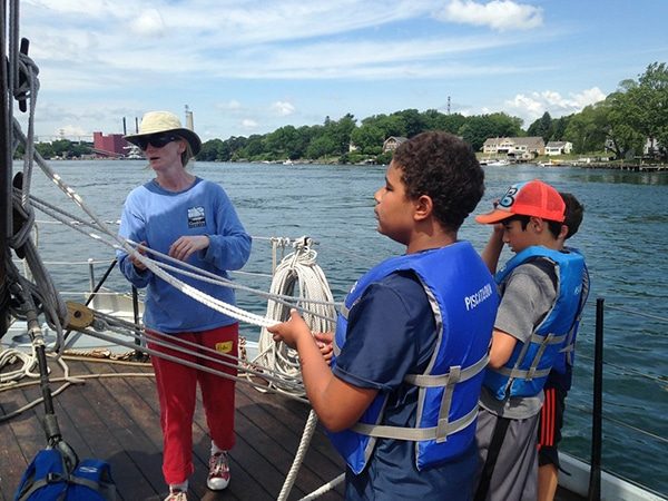 Kids fishing and boating in portsmouth, new hampshire with summer camp program
